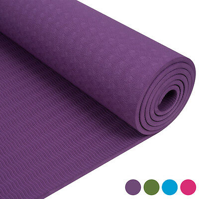 TPE Yoga Mat Exercise Fitness Aerobic Gym Physio Pilates Camping Non Slip 180cm