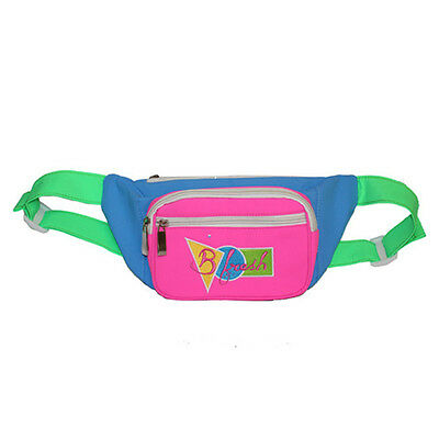 .Neon Green, Pink and Blue 90s Fanny Pack Nylon Designer Style 80s Bum Bag Funny