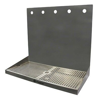"Kegco SEWM-2010-5 20"" x 10"" Wall Mount Drip Tray with Drain - 5 Shank Holes"