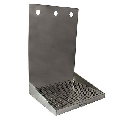 "Kegco SEWM-1210-3 12"" x 10"" Wall Mount Drip Tray with Drain - 3 Shank Holes"