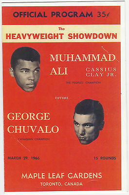 1966 Muhammad Ali / Cassius Clay George Chuvalo Vintage Fight Program Very Rare