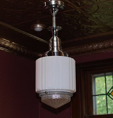 vintage 30's 40's art deco hanging ceiling light chrome fixture and shade