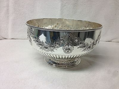 Best Quality English Silverplate Punch Bowl Chased Roses