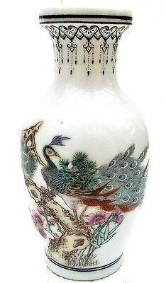 Vintage Chinese Porcelain Vase With Exotic Peacock Painting , Signed