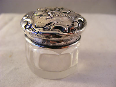 small trinket jar with art nouveau solid silver top, Birmingham 1900