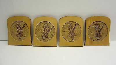 Set of 4 Vintage Holly Hobbie Wood & Cork Coasters