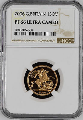 2006 Queen Elizabeth II Great Britain Gold Full Proof Sovereign Coin NGC PF 66