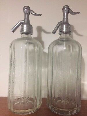 Tooth & Co Blue Bow Soda Bottles (Pair) Vintage