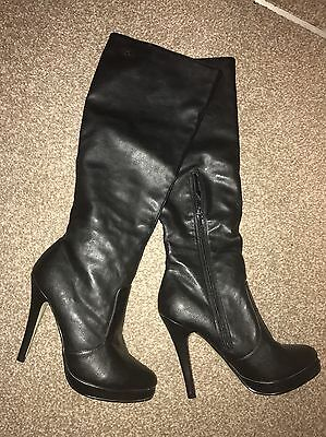 Buffalo Faux Leather Black Knee High Stiletto Boots Size 6 BNWOT