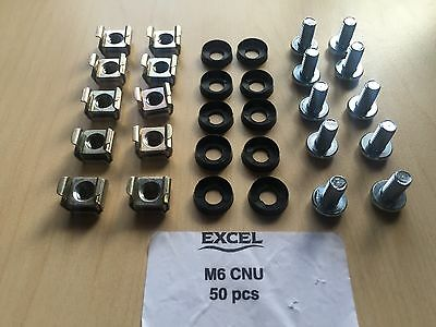 "50 Pack of each M6 Cage Nuts Screws Washers 19"" Comms Data Network Rack Cabinet"