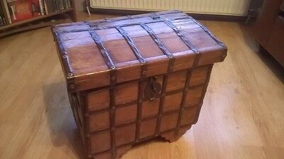 Antique Wooden Chest Indian Dowry Chest On Wheels Great Patina