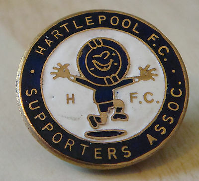 HARTLEPOOL UNITED Vintage SUPPORTERS CLUB Badge Brooch pin in gilt 27mm x 27mm