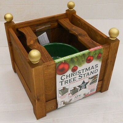 AFK 15inch Classic Wooden Christmas Xmas Tree Stand with Water Resevoir - Beech