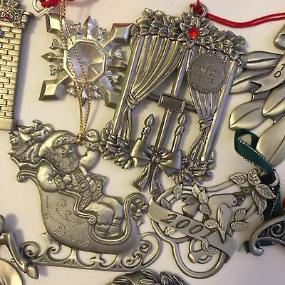10 Avon Pewter Christmas Ornaments With Pouch And Boxes