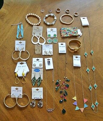 Wholesale Lot of 75 Pieces of Jewelry, New Bracelets, Necklaces, Rings, Earrings
