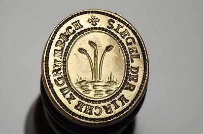 Charming well engraved 19thc Church desk wax seal for GRUMBACH, Germany