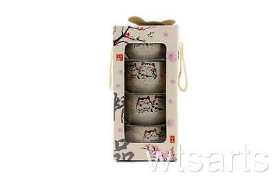 4 Ceramic Rice Bowls with Chopstick Set - Fortune Cat, Maneki Neko