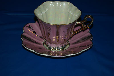 Shafford Made in Japan Pink and Gold hand painted Teacup and Saucer