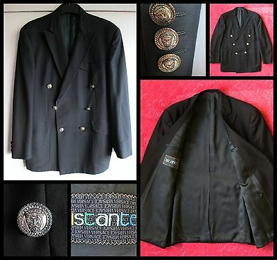 "Rare Vintage - Versace "" Istante "" Black Double Breasted Wool Blazer - 40"" Chest"