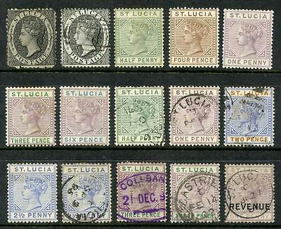 St Lucia QV Mixed Mint & Used x 15 Stamps. Cat approx £240. Fronts & Backs Shown