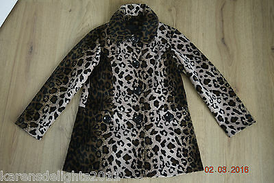 Leopard print mid length coat age 7-8 years from Next fast postage