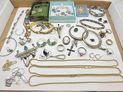 LOT of Vintage Deco Jewelry Rings Cameo + STERLING SILVER 925 NR FREE SHIP!