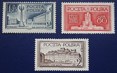 POLAND - 1953 RECONSTRUCTION OF WARSAW- Full Set of 3 - MH