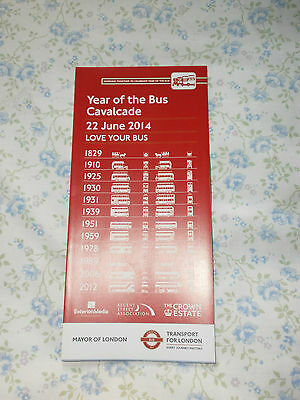 London Transport 'year Of The Bus Cavalcade' Leaflet 2014