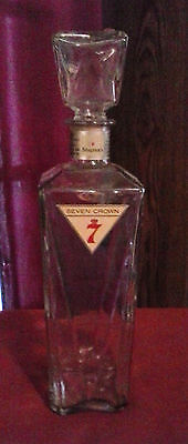 Vintage Seagrams 7 Crown Decanter Bottle,Glass Stopper,Tax Stamp,4/5 Quart,12in.