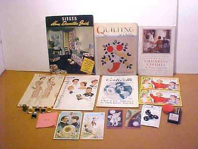 Vintage Sewing Needle Cases, Tape Measures,trade Cards,thimbles,patterns, Book