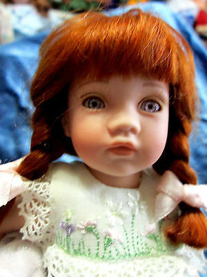 """Adorable 8"""" All Procelain Red Haired, Lavender Eyed Pauline Girl Orig Clothes"""