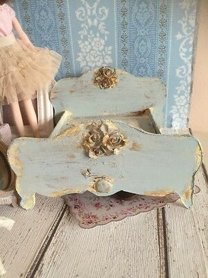 Doll House Scale Shabby Chic Distressed Bed 1/12 Scale