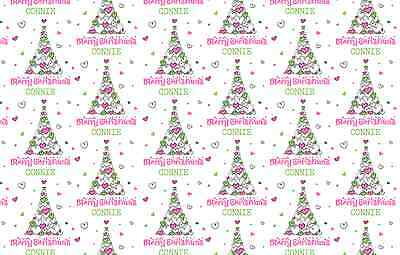 """Personalised Christmas Wrapping Paper """"Tree of Hearts"""" with two tags."""