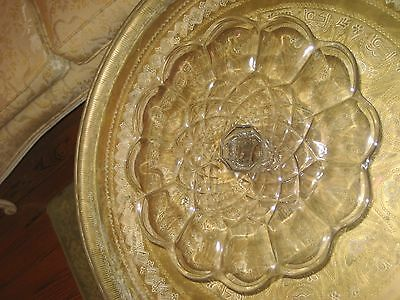 Vintage Decorative Glass Cake Pedestal Stand Stainless Steel Dome Lid Cover 10""