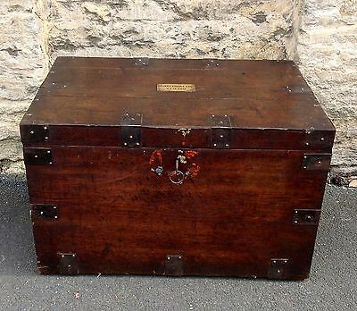 Large Antique 19th Century Victorian Silver Chest, Oak & Iron Bound Travel Trunk