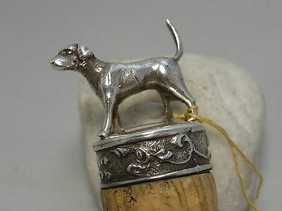 Solid Silver Topped Cork Dog Hound Fox Hound Antique Bottle Stopper Hunting