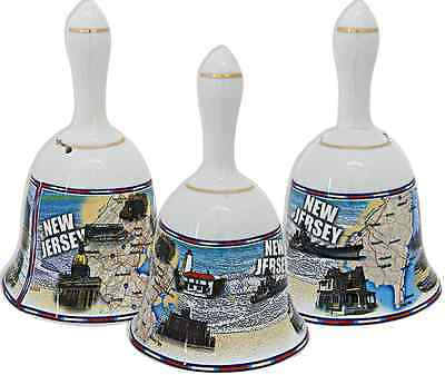 """New Jersey  souvenirs Bell / 4"""" White - New Jersey Map"""