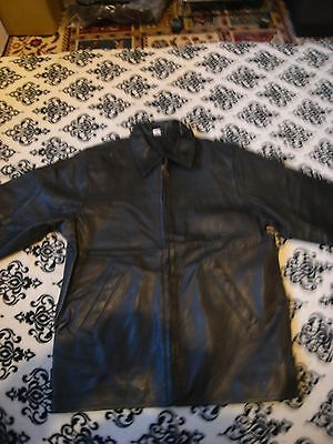 """never worn girl black leather zip front jacket size 158-164cm chest 38"""" collar"""