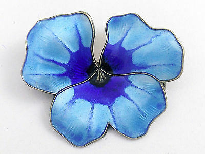 STERLING SILVER AND ENAMEL BROOCH by David Andersen of Norway   Large Blue Pansy