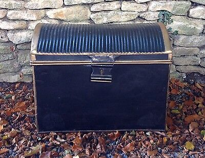 Large Antique metal tin Victorian storage, Toy,  travelling trunk chest