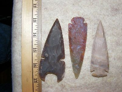 "Set Of 3 4"" Stone Spearheads Arrowheads Texas Estate Art-Bs So3-483"