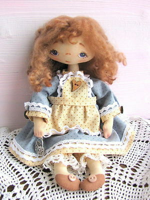 Charming artist handmade textile cloth rag doll - unique Christmas gift OOAK!