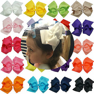 20pcs/lot 6 Inch Large Double Layers Hair Bows Clips Girls Bowknot Hairpins