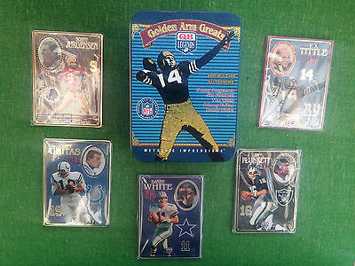 Golden Arm Greats Nfl Metallic Impressions Embossed Metal Collector Cards