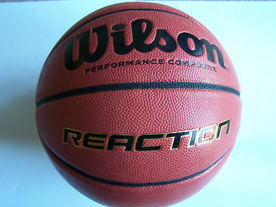 WILSON Reaction Indoor / Outdoor Composite Leather Basketball  Size 7 12yrs Plus