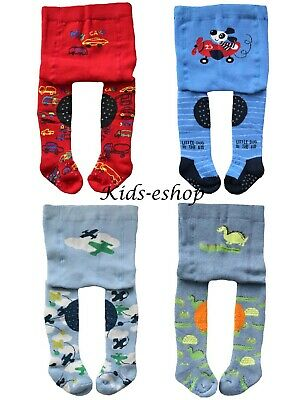 Baby Boys Crawling Terry Thick Tights Rubberised Knees Anti Slip Sole 6-12-24M