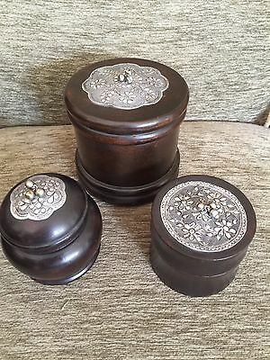 Vintage 3 X Wood/treen Boxes With Silver Metal/bell Design On Lids..India?