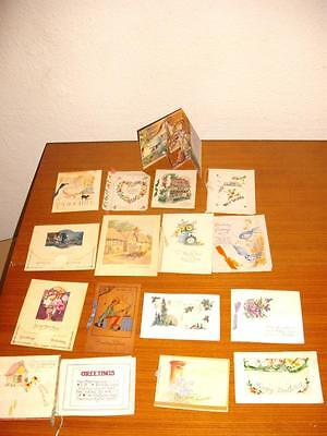 VINTAGE  Used CARDS BIRTHDAY/VALENTINEincl. Fold out and Silk Card