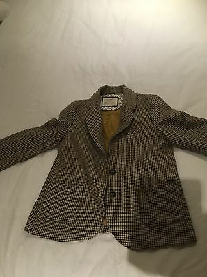 ZARA GIRLS tweed Riding Style Jacket Patch Elbows Age 7-8yrs Used