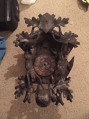 "HUGE Antique Black Forest Cuckoo Clock Case 20"" By 12"" Hare Pheasant & Shield"
